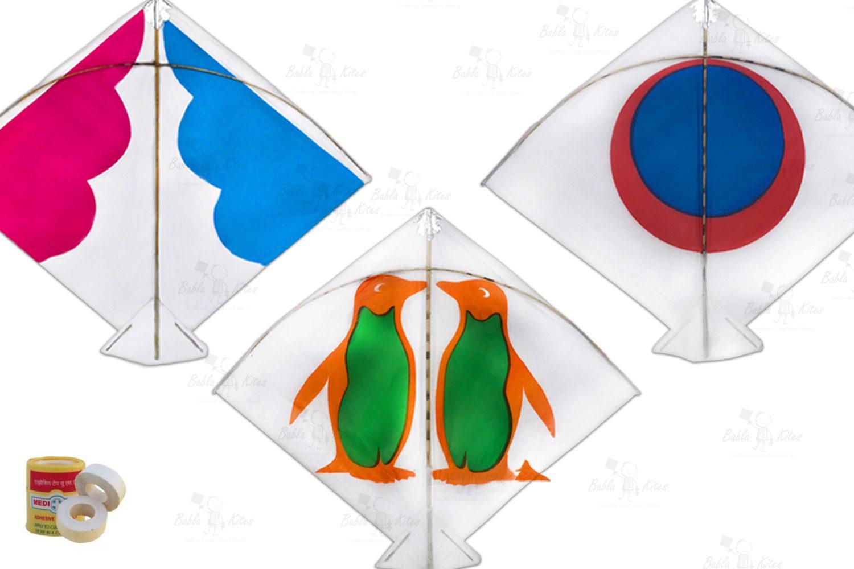 Babla 40 White Design Fighter Patang Kites (Size 57*48 Centimeter)