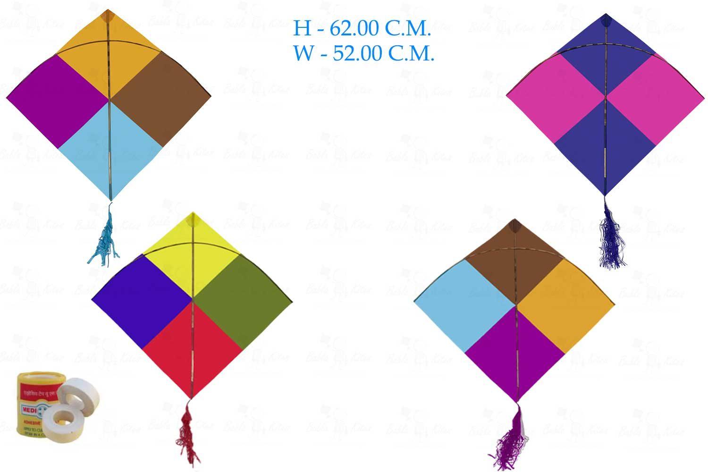 Babla 40 Colour Indian Designer Fighter Rocket Kites (Size 64 * 52 Centimeter)